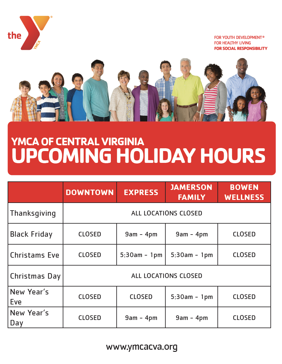 Holiday Hours Ymca Of Central Virginia